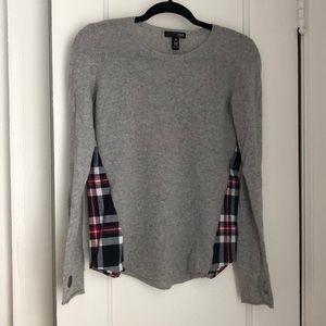 Light Grey Sweater, Plaid Side Panel & Thumbholes!